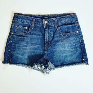 Forever 21 Denim Studded Distressed Hem Shorts 28